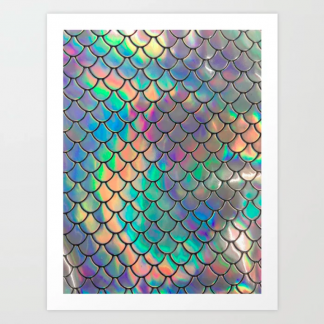 Mermaid scales iridescent wall art print