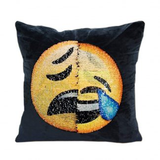 LOL emoji pillow with reversible sequins