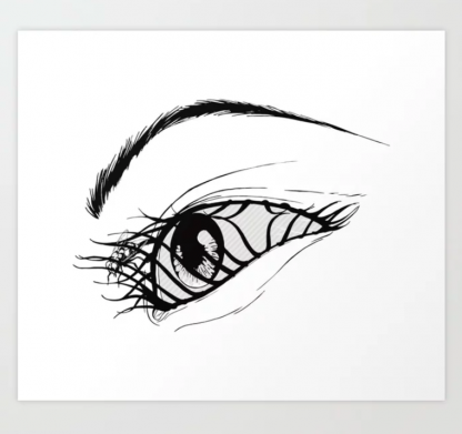 Aeon Flux Fly in Eye Black and White Print