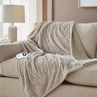 Serta Honeycomb Design Heated Blanket Faux Fur