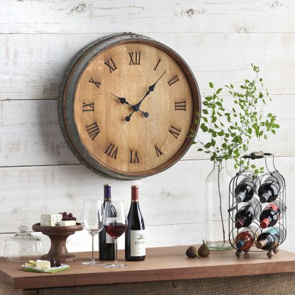 Clock made from a Napa Valley wine barrel