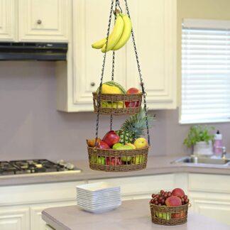 Woven 3 tier hanging fruit basket