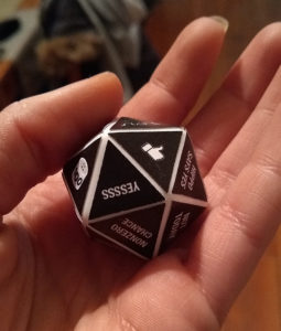Making a custom Magic 8 Ball - Labels on the 20-sided die