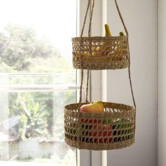 Two tier woven hanging fruit basket