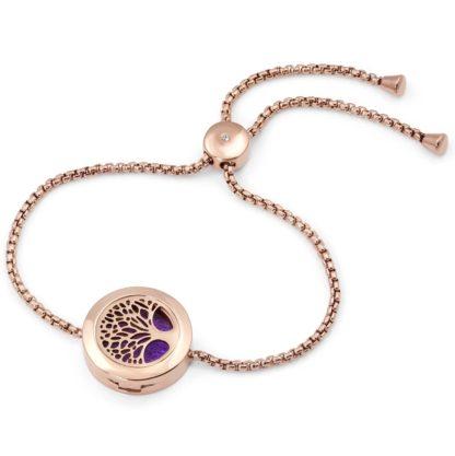 Adjustable Tree of Life Essential Oil Diffuser Bracelet - Rose Gold