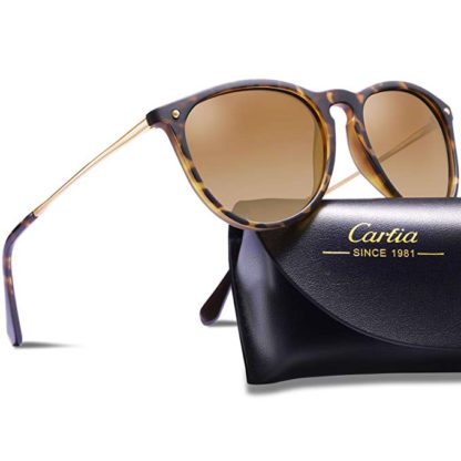 Carfia polarized sunglasses tortoise shell with gold accents