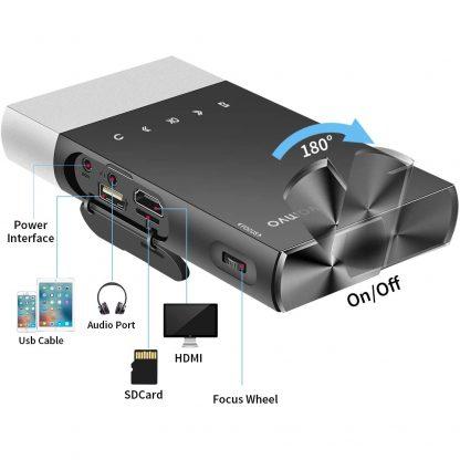 Vamvo Mini Wireless Rechargeable Projector - Inputs