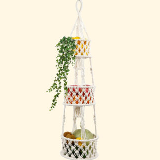 3 Tier Woven Macrame Hanging Basket with Fruit