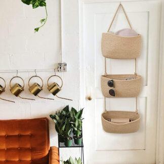 Woven Baskets Hanging Over Door