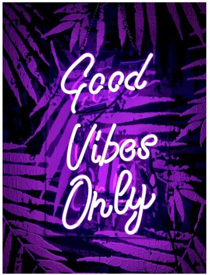 'Good Vibes Only' purple neon sign